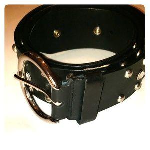 Womens black leather belt 35 in